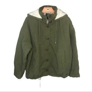 UO Sherpa Lined Field Jacket Hoodie Coat Green NEW